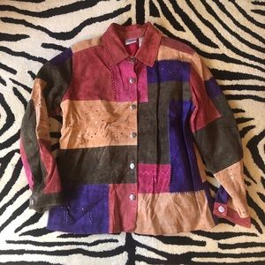 CHiCO'S Leather Shirt Coat of Many Hues & Sequins